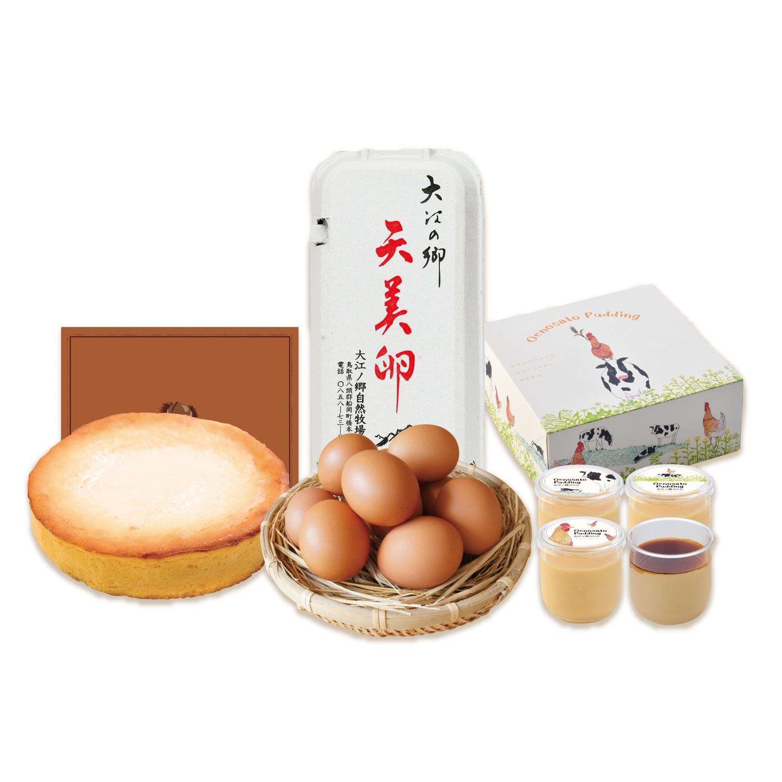 和栗たっぷりの濃厚チーズケーキにしっとりふわふわ食感のミニバウム、天美卵を詰め合わせた秋限定ギフトセット