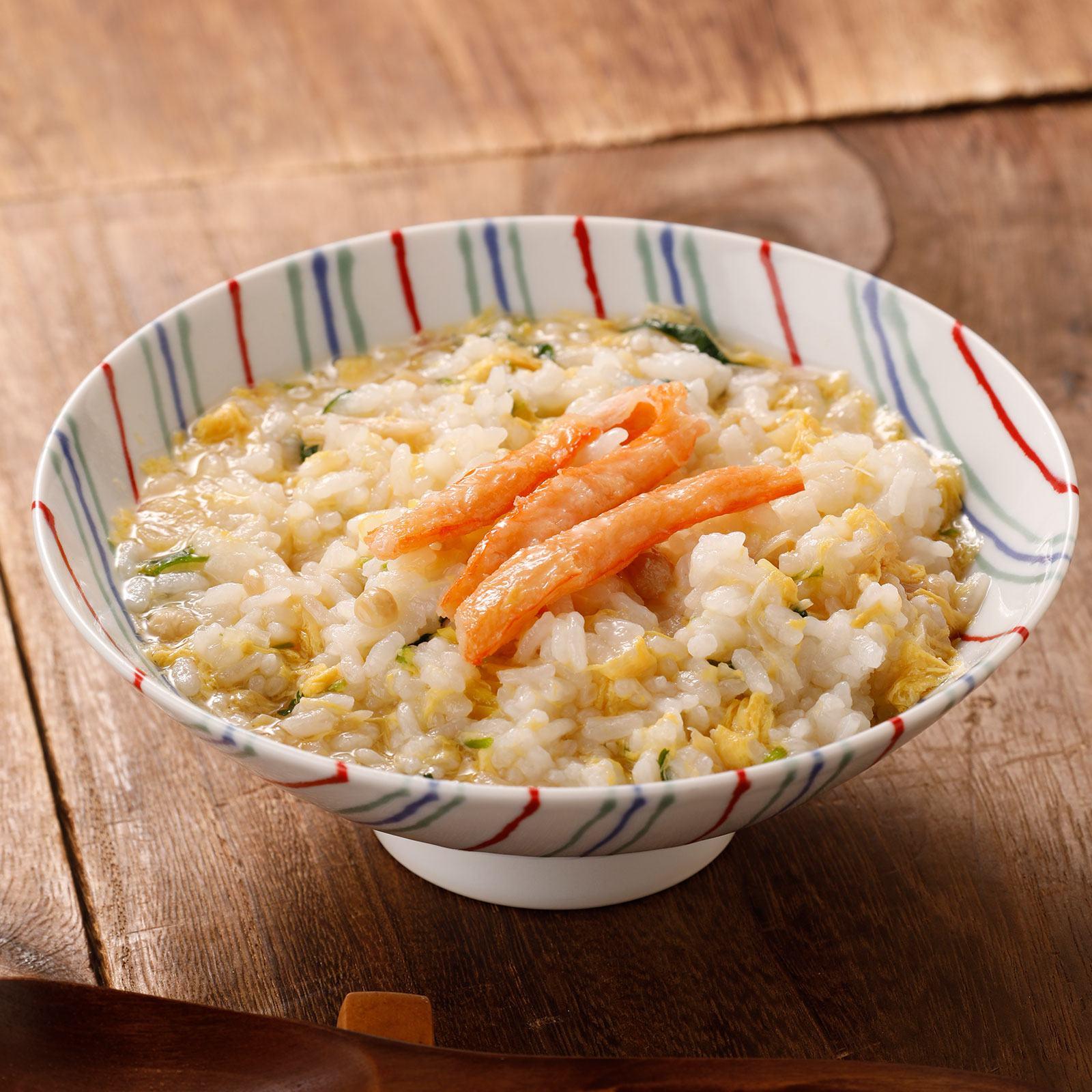 ふわふわの天美卵に、鳥取県産紅ズワイガニ、そして国産野菜をたっぷりと味わえる蟹ぞうすい