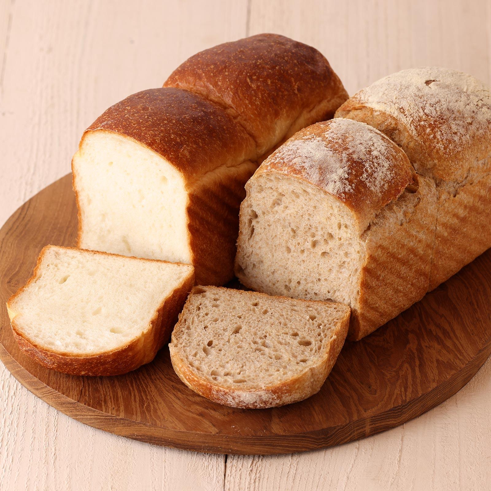 プレーンと全粒粉食パン2本組