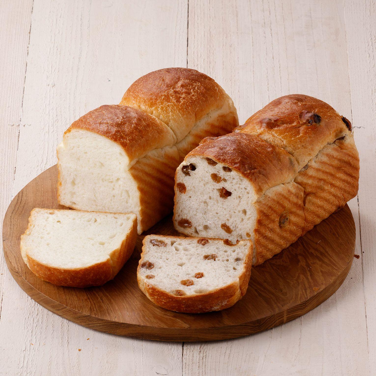プレーンとぶどう食パン2本組
