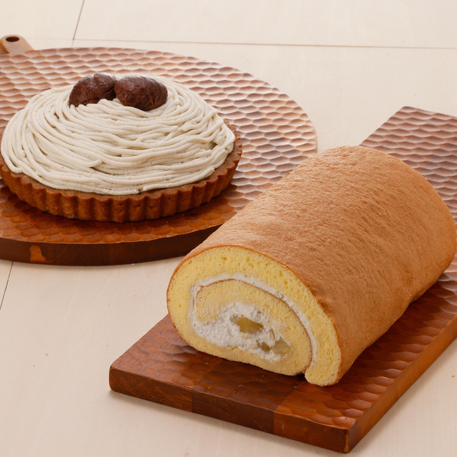 和栗を贅沢に味わう濃厚タルトと洋酒がほのかに香る和栗のロールケーキを詰め合わせた、栗好きにおすすめのセット